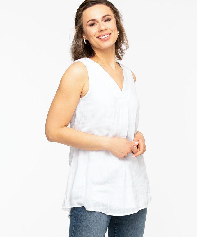 Sleeveless V-Neck Tunic Blouse, White