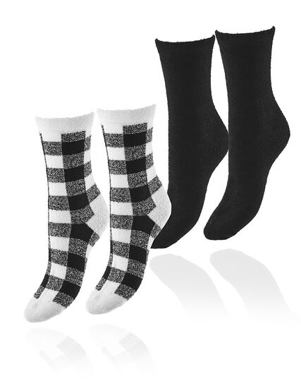 Black and White Plush Sock 2-Pack, Black, hi-res