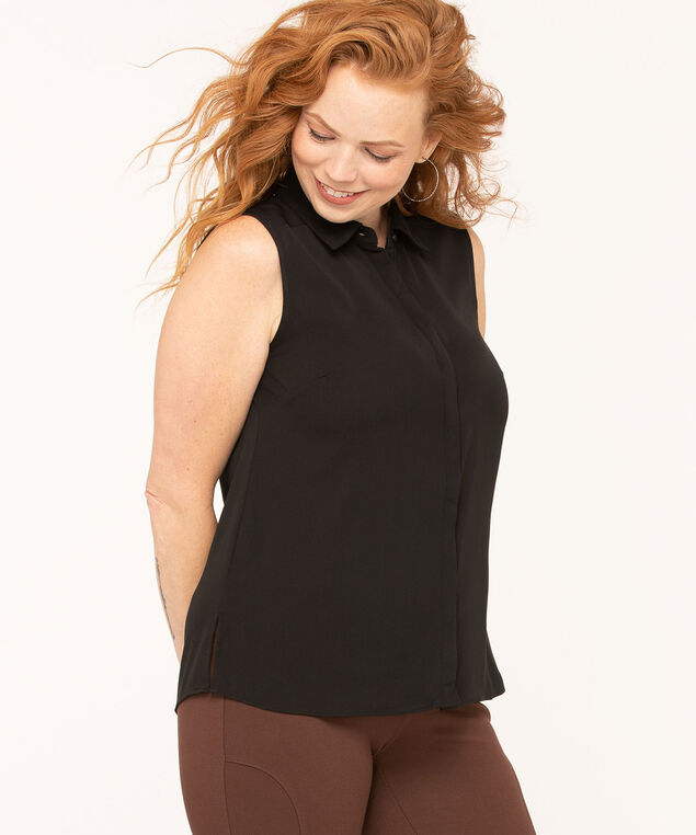 Collared Button Blouse, Black