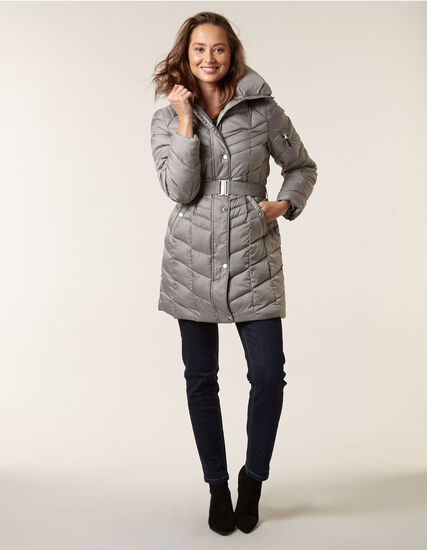 Grey Belted Faux Down Coat, Grey, hi-res