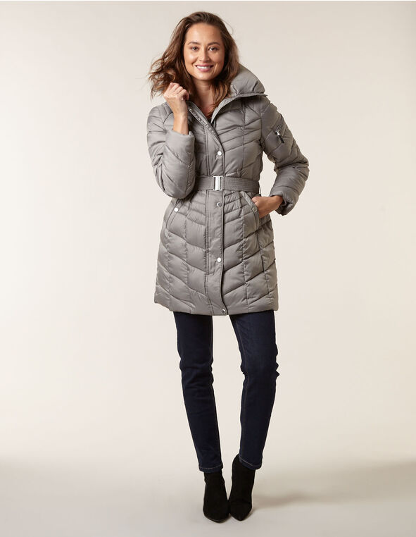 Grey Belted Faux Down Coat, Grey, hi-res