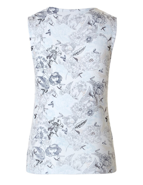 Floral Sleeveless Cotton Tee, Floral Print, hi-res