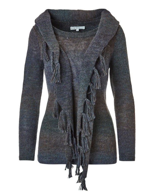 Lagoon Removable Scarf Sweater, Lagoon, hi-res