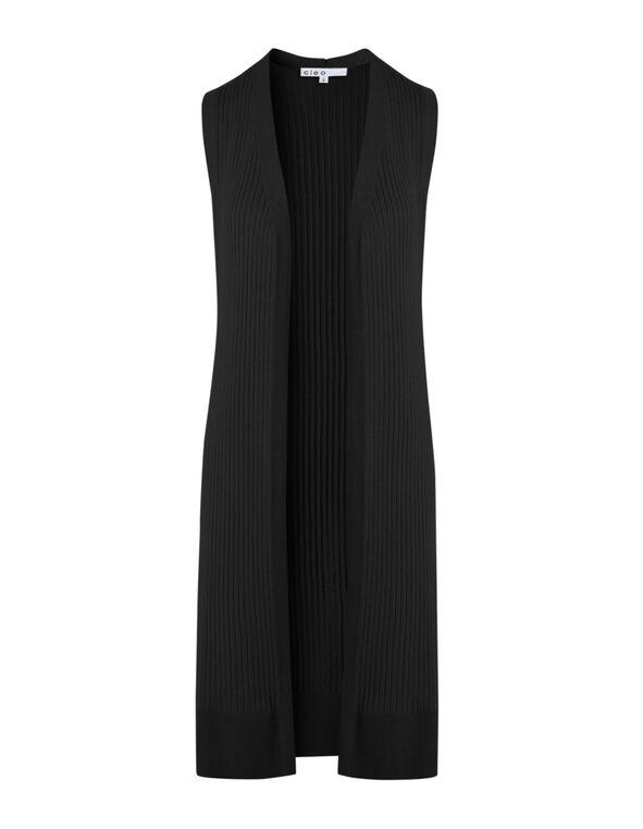Black Long Ribbed Vest, Black, hi-res