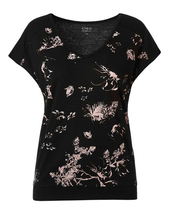 Black & Pink Floral V-Neckline Tee, Black, hi-res