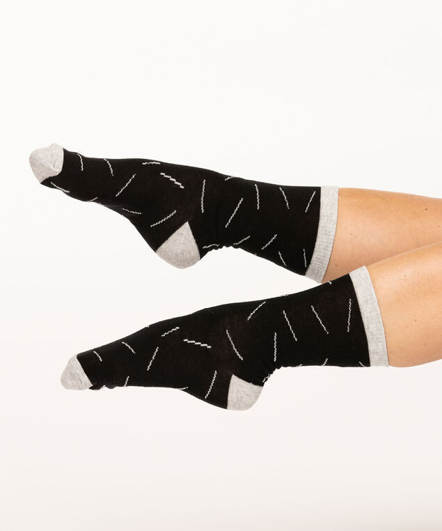 Geo Line Crew Sock, Black/Light Grey