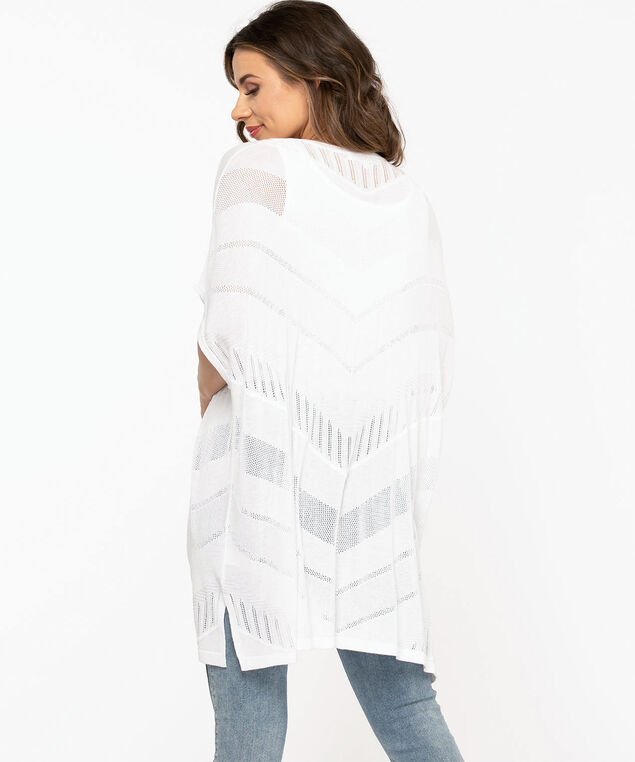 Mesh Detail Kimono Sweater, White