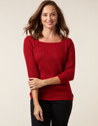 Ruby Rib Knit Sweater, Red, hi-res