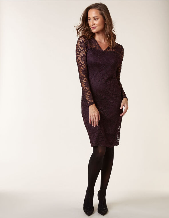 Purple Lace Overlay Sheath Dress, Purple, hi-res