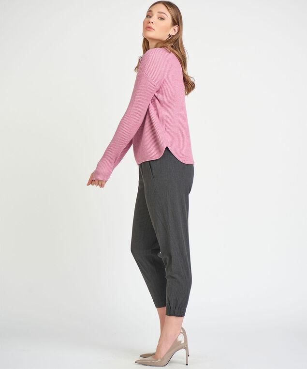 Dex Black Tape Ribbed Sweater, Heather Pink Mauve