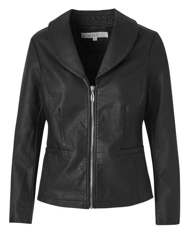 Black Shawl Collar Faux Leather Jacket, Black, hi-res