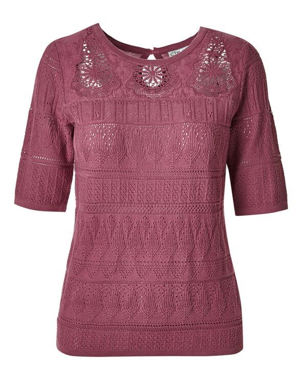 Rose Crochet Pullover, Rose, hi-res