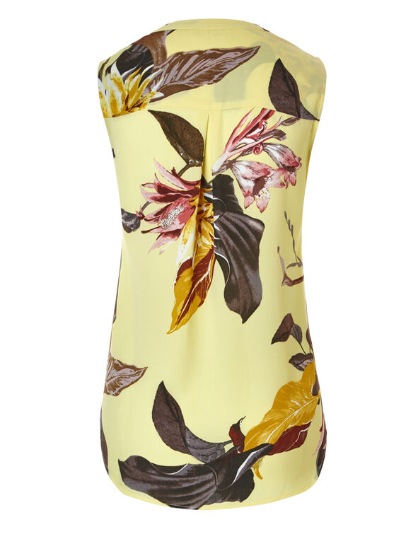 Yellow Floral Shell Blouse, Yellow Floral, hi-res