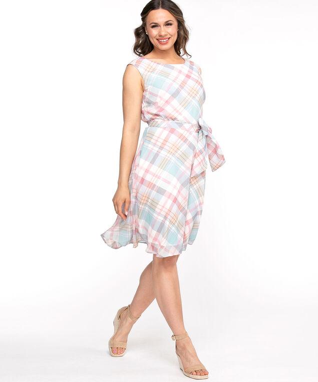 Chiffon Sleeveless A-Line Dress, Pastel Plaid