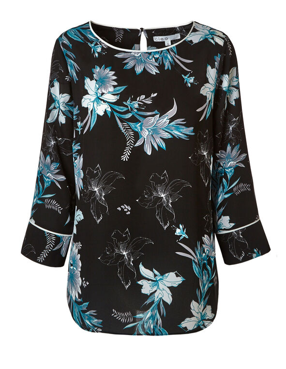 Black Floral Printed Blouse, Black/Turquoise, hi-res
