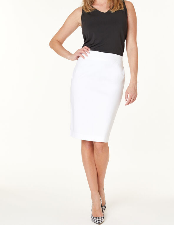 White Pencil Skirt, White, hi-res