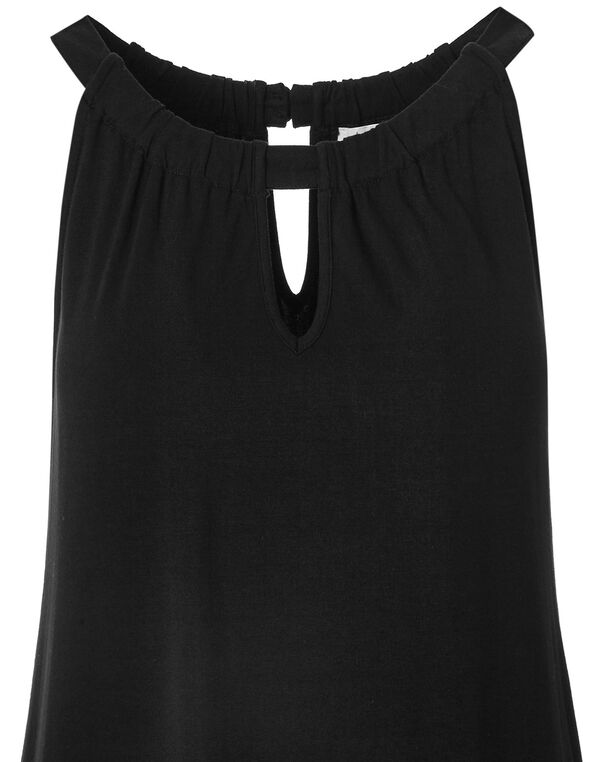 Black Halter Asymmetrical Top, Black/White, hi-res