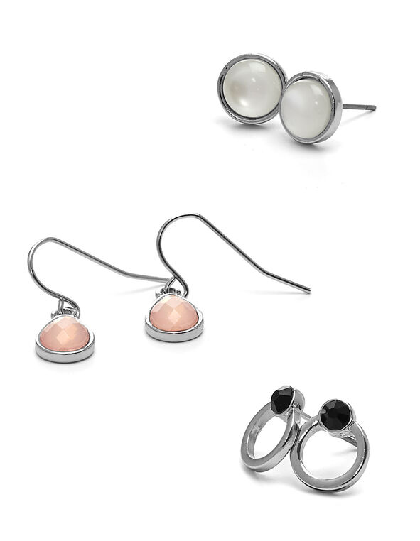 Dainty Earring Trio Pack, Silver, hi-res