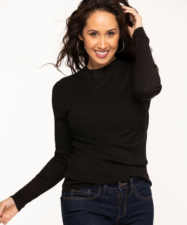 Ribbed Mock Neck Essential Sweater, Black