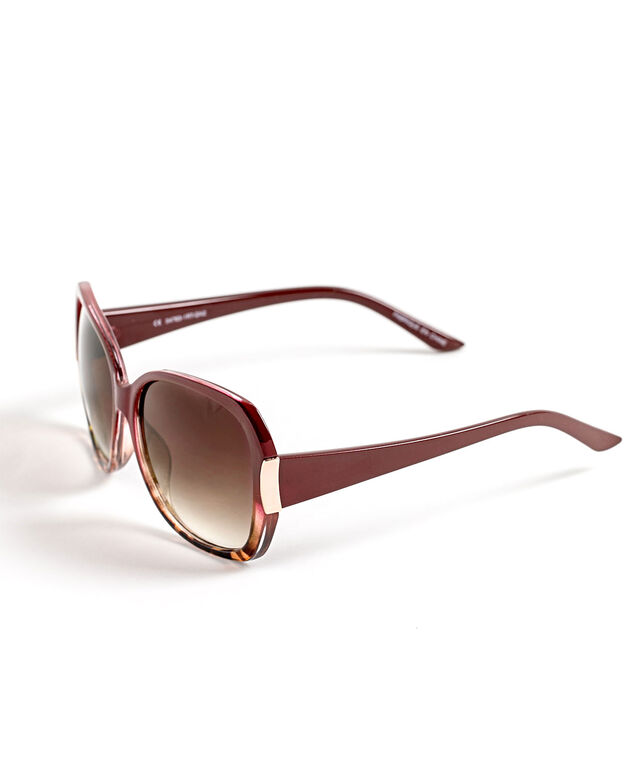 Berry Ombre Large Sunglasses, Berry/Rose Gold