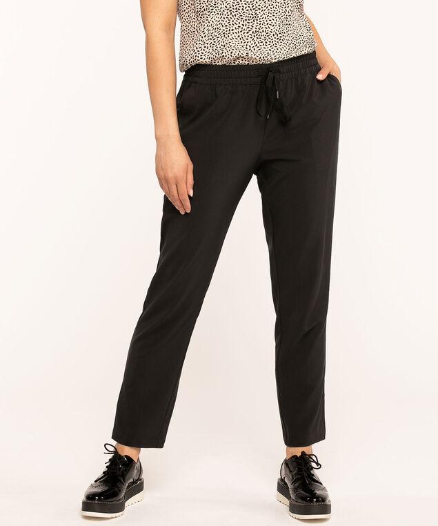 Pull On Drawstring Ankle Pant, Black