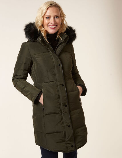 Spruce Curved Hem Down Coat, Spruce, hi-res