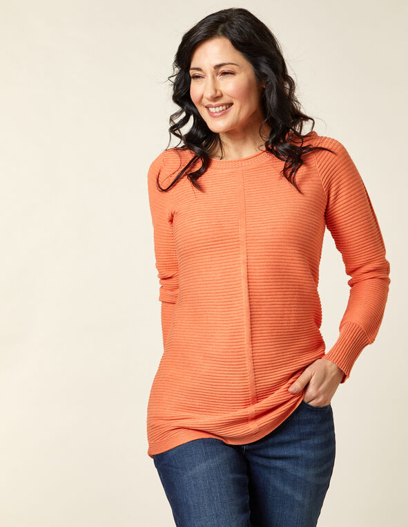 Ottoman Stitch Sweater, Orange, hi-res