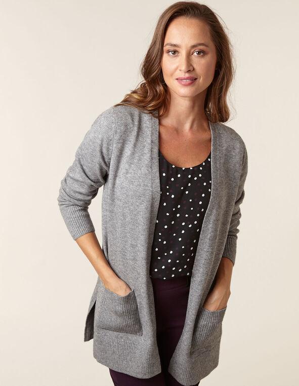 Grey Basic Cardigan, Grey, hi-res