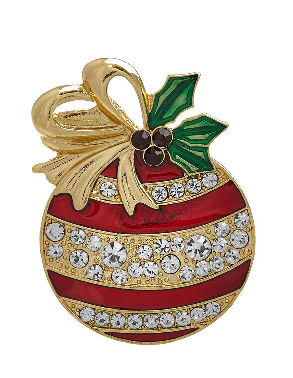 Red Ornament Pin, Red, hi-res