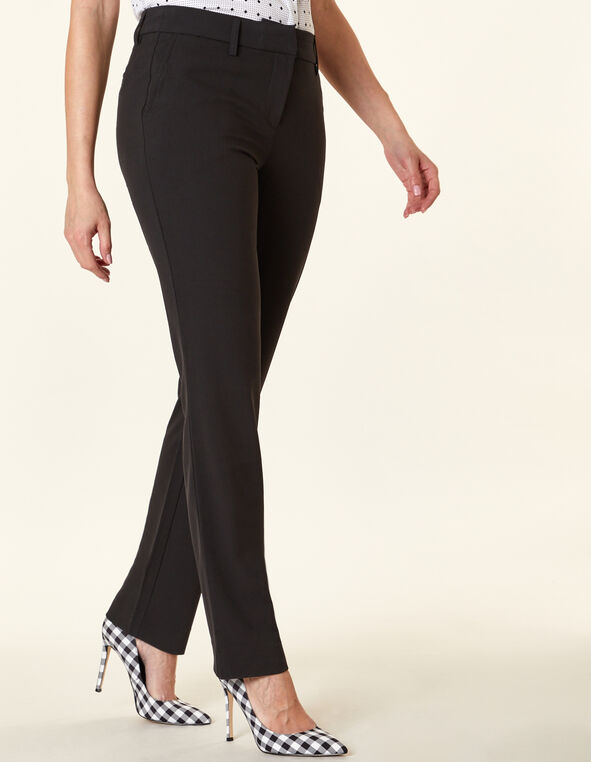 Black Straight Slim Leg Pant, Black, hi-res