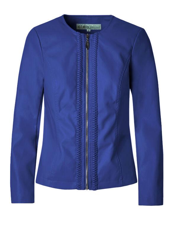 Cobalt Braid Faux Leather Jacket, Cobalt, hi-res