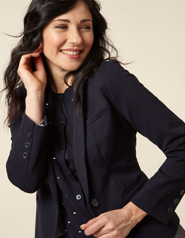 Navy Solid Blazer, Navy, hi-res