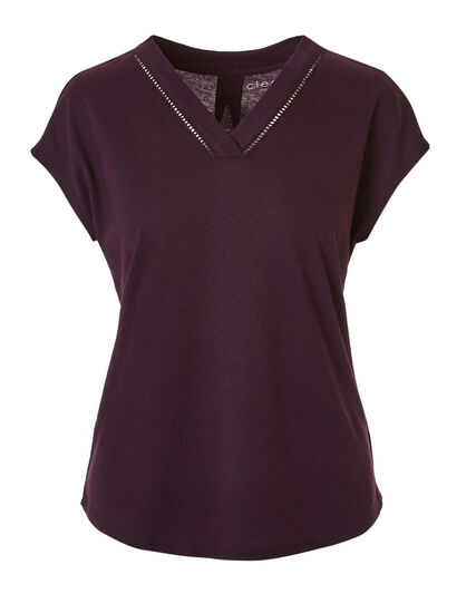Purple V-Neckline Tee, Dark Purple, hi-res
