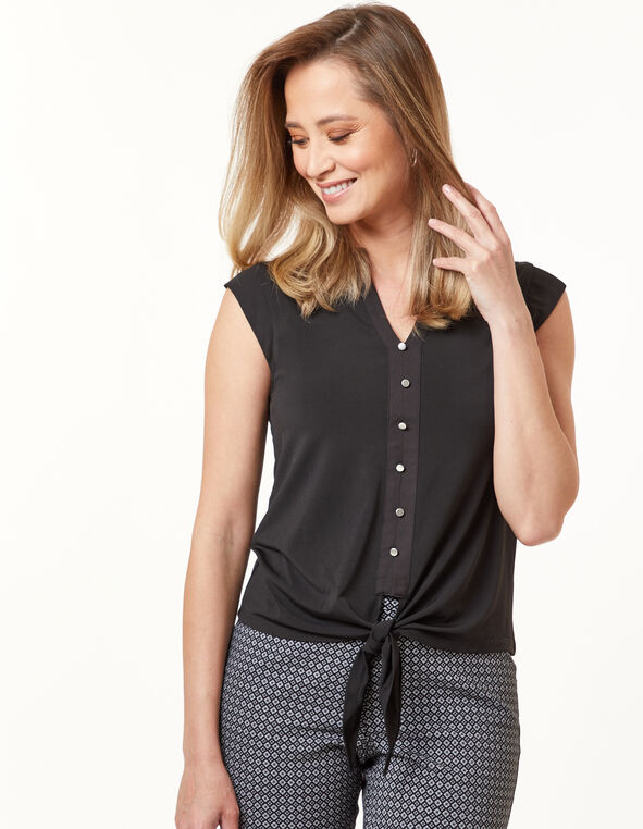 Tie Front Top, Black, hi-res