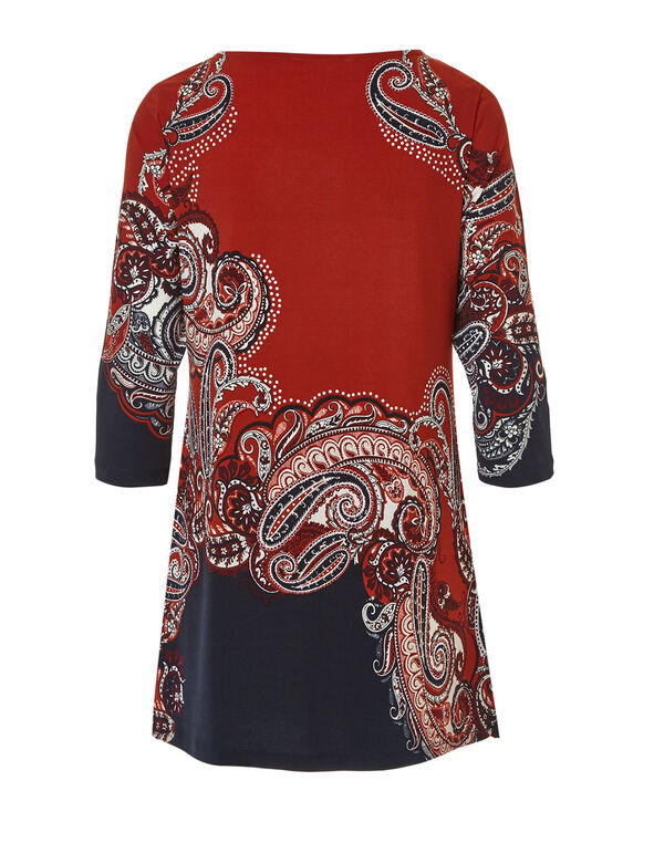 Paprika Patterned Tunic Top, Paprika, hi-res