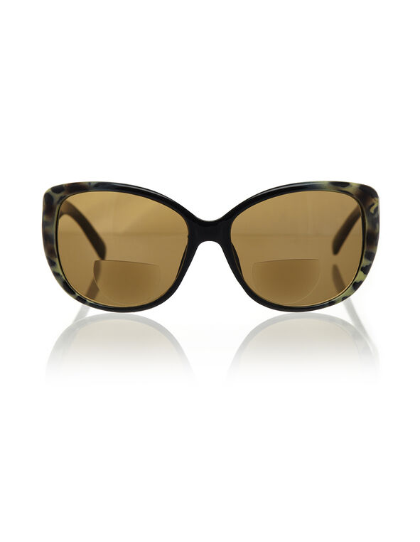 Animal Print Bi-Focal Sunglasses, Black/Brown/Cream, hi-res