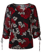 Red Floral Chiffon Sleeve Top, Black/Red, hi-res