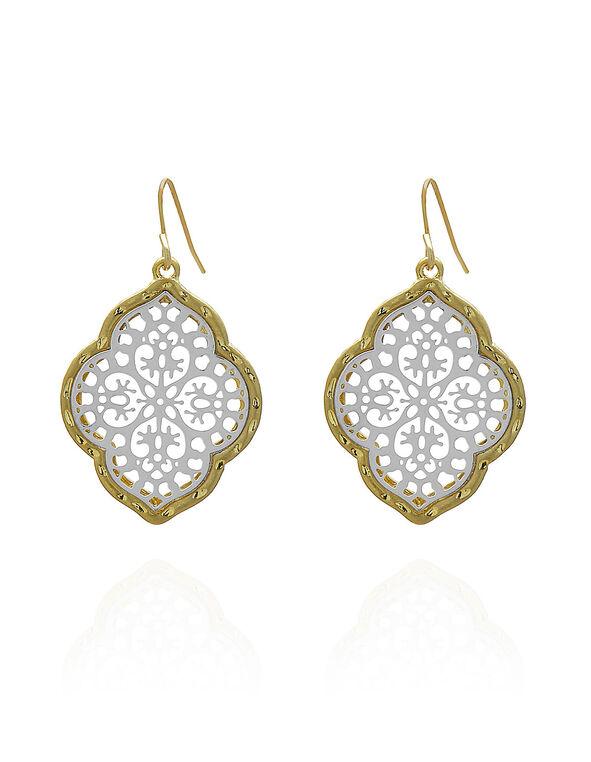 Gold Filigree Earring, Gold, hi-res