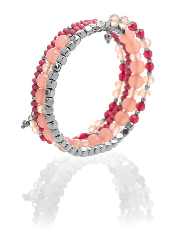 Pink Beaded Bracelet, Pink, hi-res