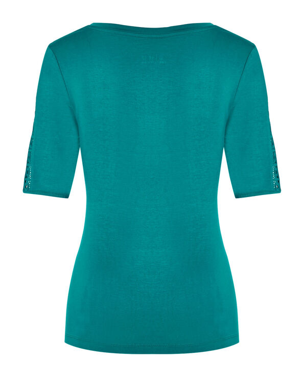 Turquoise Crochet Sleeve Tee, Summer Turquoise, hi-res