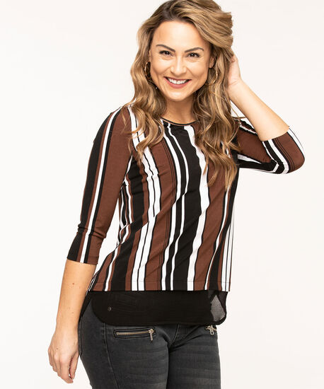 Striped Chiffon Fooler Hem Top, Black/Brown/White Stripe, hi-res