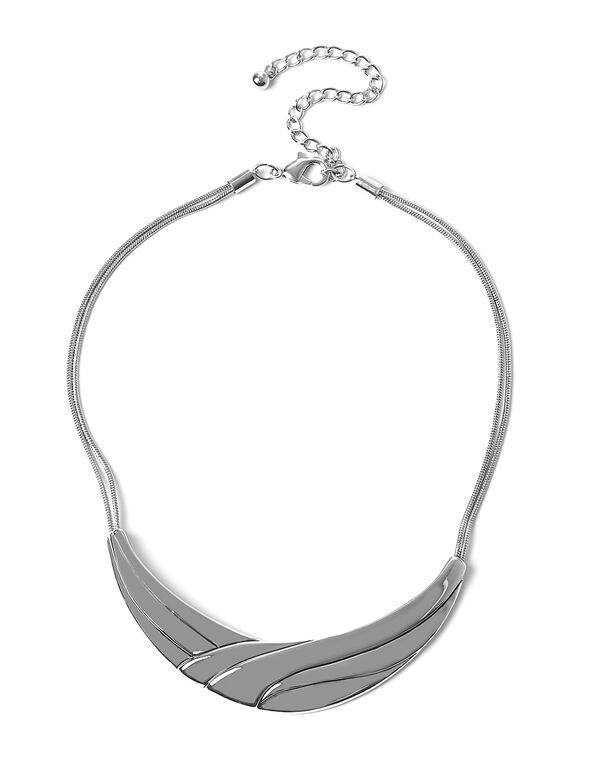 Short Rhodium Arch Statement Necklace, Silver, hi-res