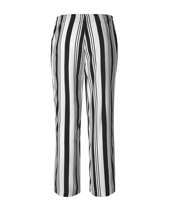 White Striped Wide Leg Pant, White/Black, hi-res