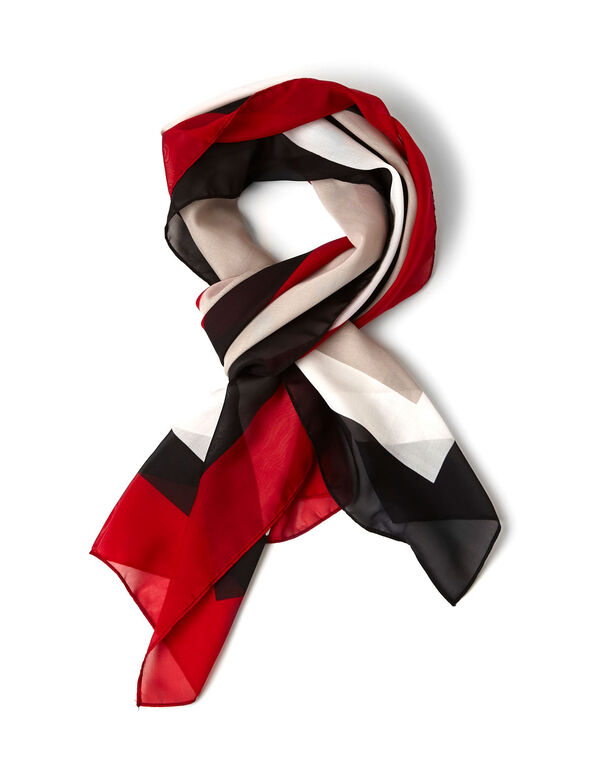Red Colour Block Silky Scarf, Red/Black/White, hi-res
