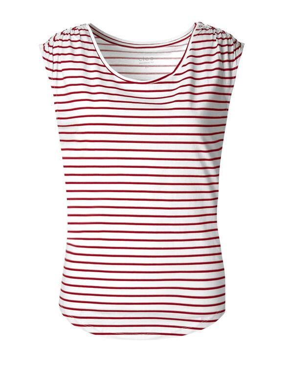Scarlett Striped Ruched Cotton Tee, Scarlett Red/White, hi-res