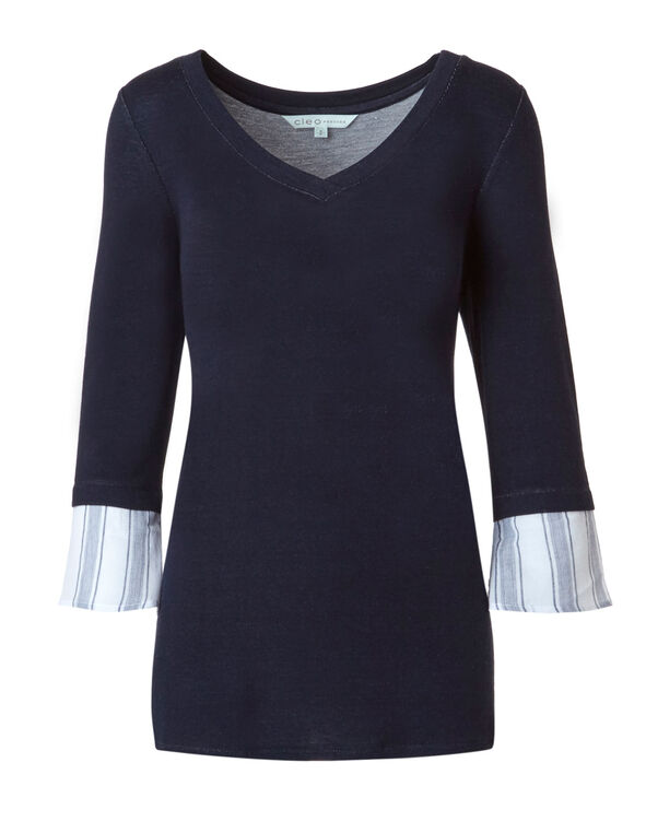 Navy Stripe Back Top, Navy, hi-res