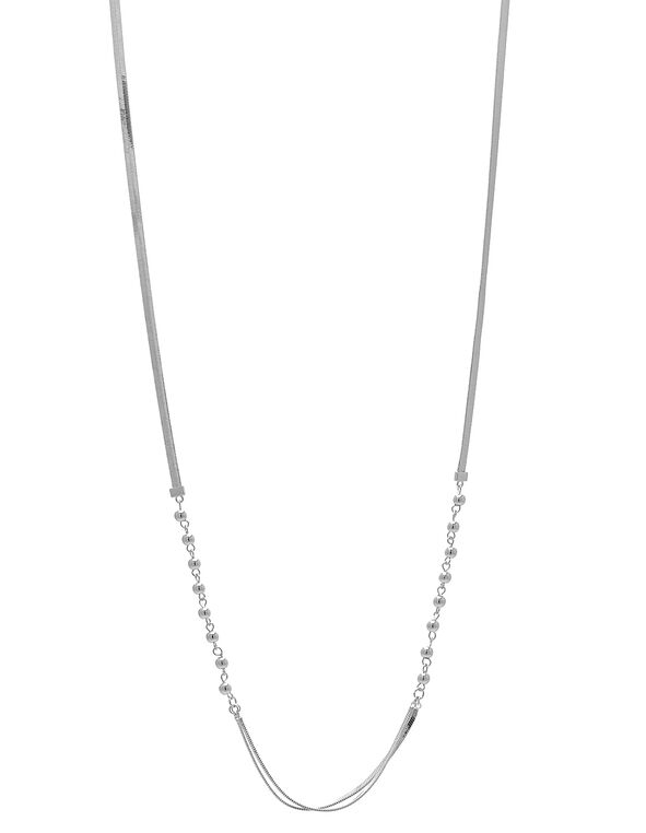Silver Snake Chain Long Necklace, Silver