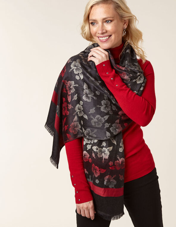 Red Floral Ombre Pashmina, Red, hi-res