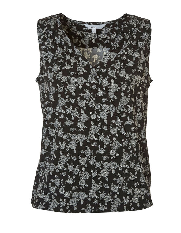 Black Floral Wrap Front Top, Black, hi-res