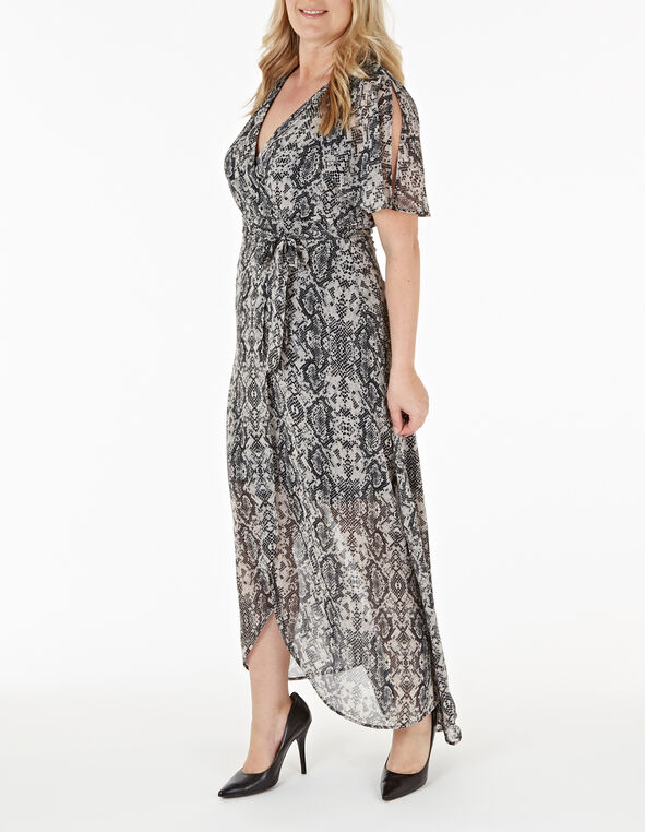 Python Printed Maxi Dress, Grey, hi-res